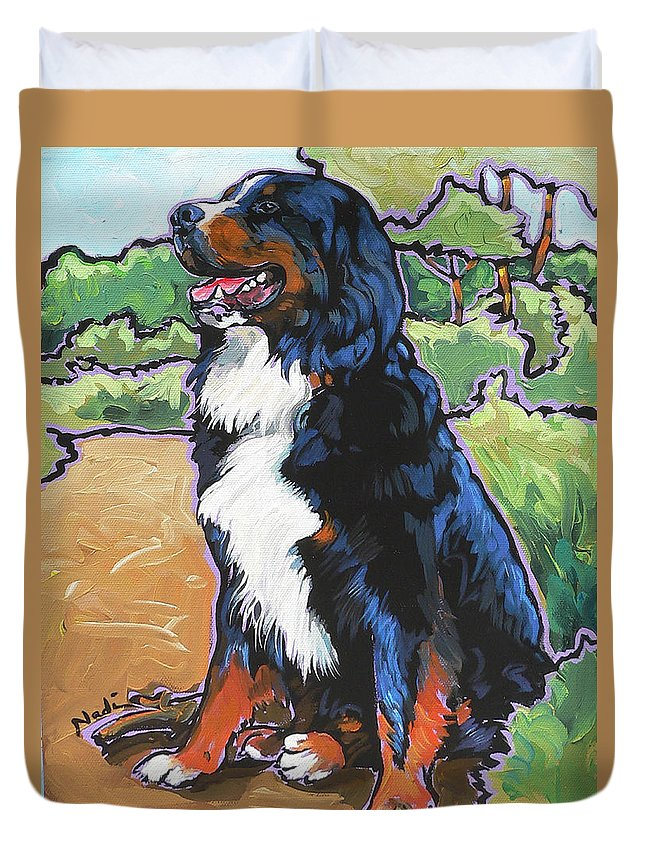 Bernese Mountain Dog Duvet Cover featuring the painting Oliver by Nadi Spencer