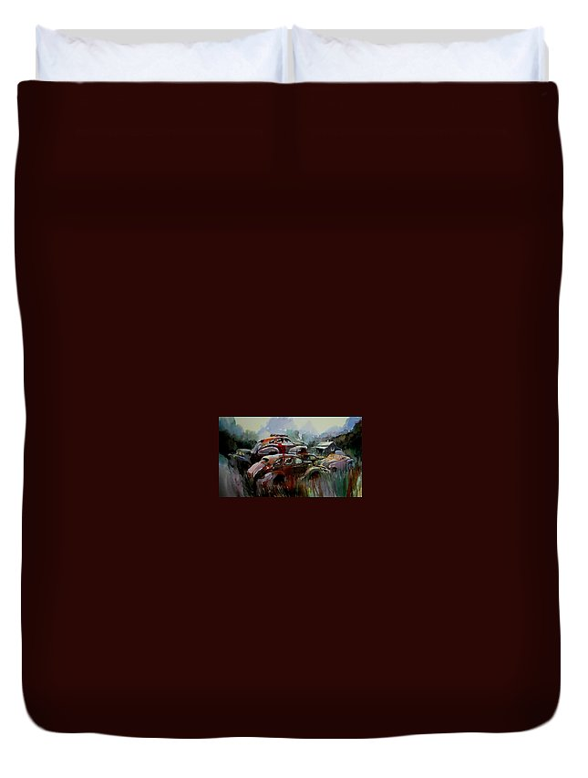 Chevies Duvet Cover featuring the painting Oliver Stacks by Ron Morrison