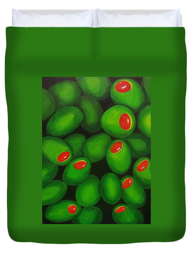 Olive Duvet Cover featuring the painting Olives by Micah Guenther