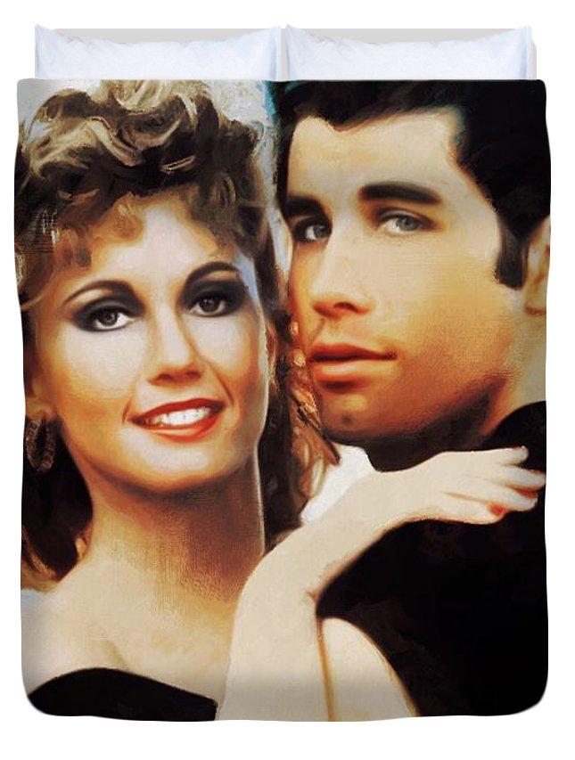 Olivia Newton-john And John Travolta, Grease Duvet Cover