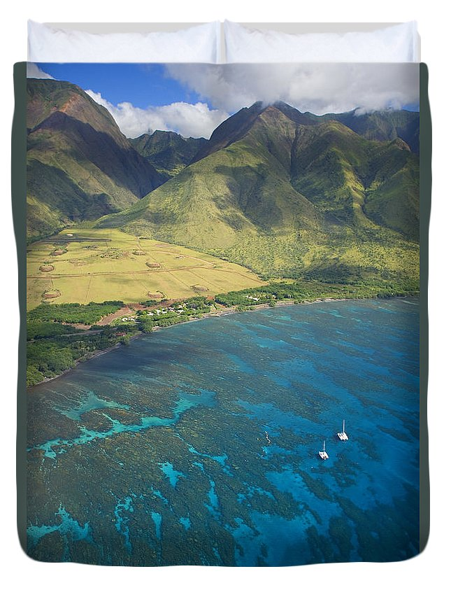 Above Duvet Cover featuring the photograph Olowalu Aerial by Ron Dahlquist - Printscapes