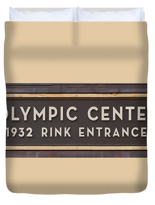 Lake Placid Duvet Cover featuring the photograph Olympic Center 1932 Rink Entrance by Stephen Stookey