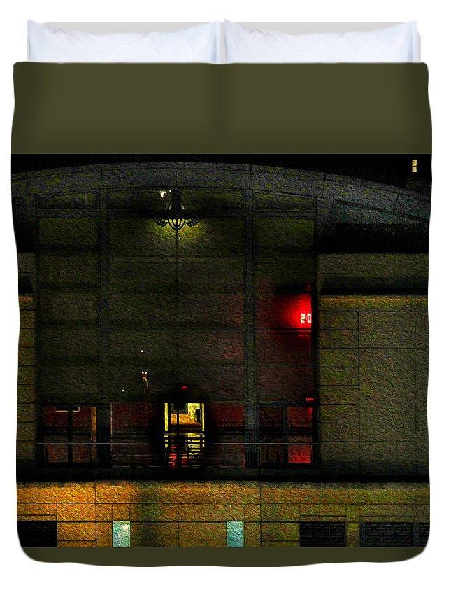 Bonnie Follett Duvet Cover featuring the photograph Olympic Club At Night by Bonnie Follett