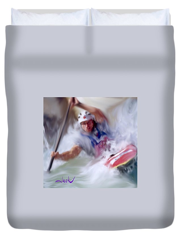 Kayak Duvet Cover featuring the digital art Olympic Kayak by Jack Bunds
