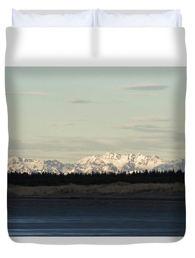 Olympic Mountains Duvet Cover featuring the photograph Olympic Mountains by Cheryl Day