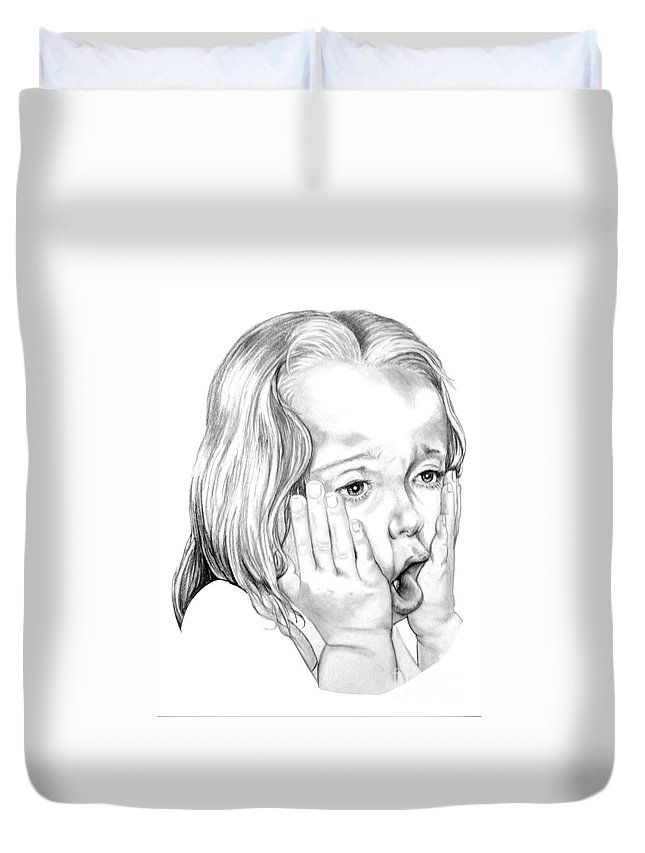 Portrait Duvet Cover featuring the drawing OMG by Murphy Elliott