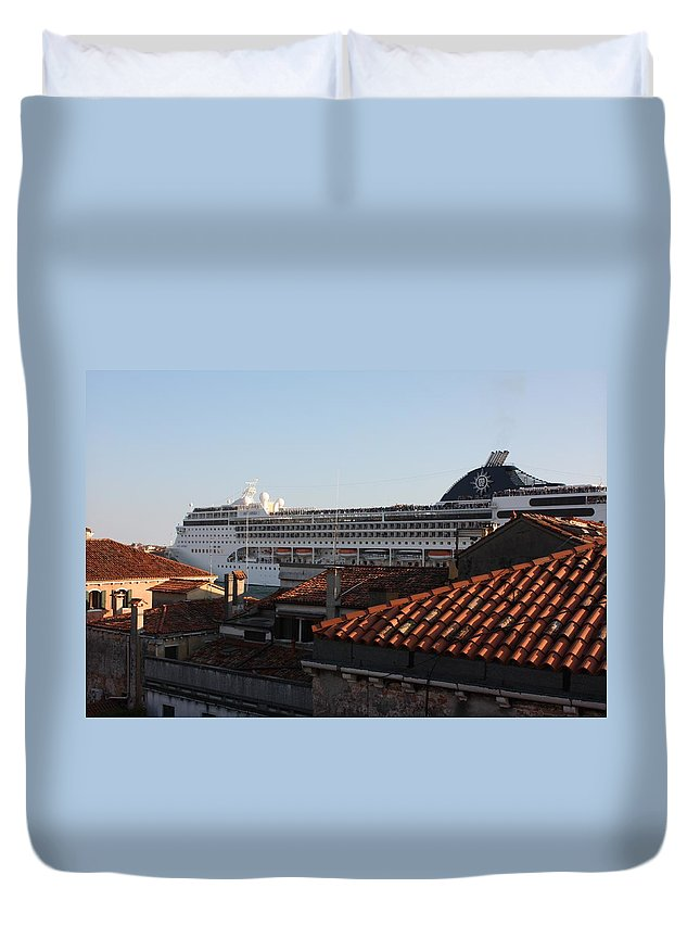 Italy Duvet Cover featuring the photograph Omg There Is A Cruise Ship In My Backyard by Pat Purdy