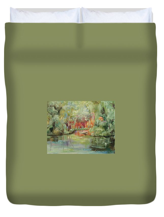 Bayou Duvet Cover featuring the painting On A Bayou by Ginger Concepcion
