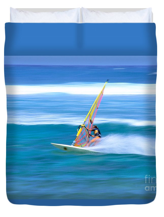 Adrenaline Duvet Cover featuring the photograph On A Calm Blue Ocean by Bill Brennan - Printscapes