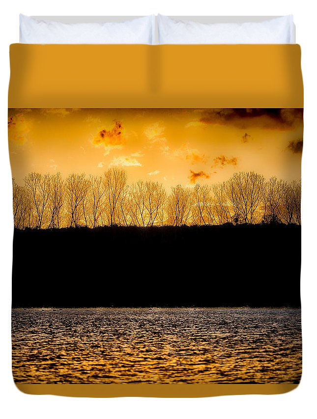 Fine Art Duvet Cover featuring the photograph On A Golden Lake by Darby Donaho