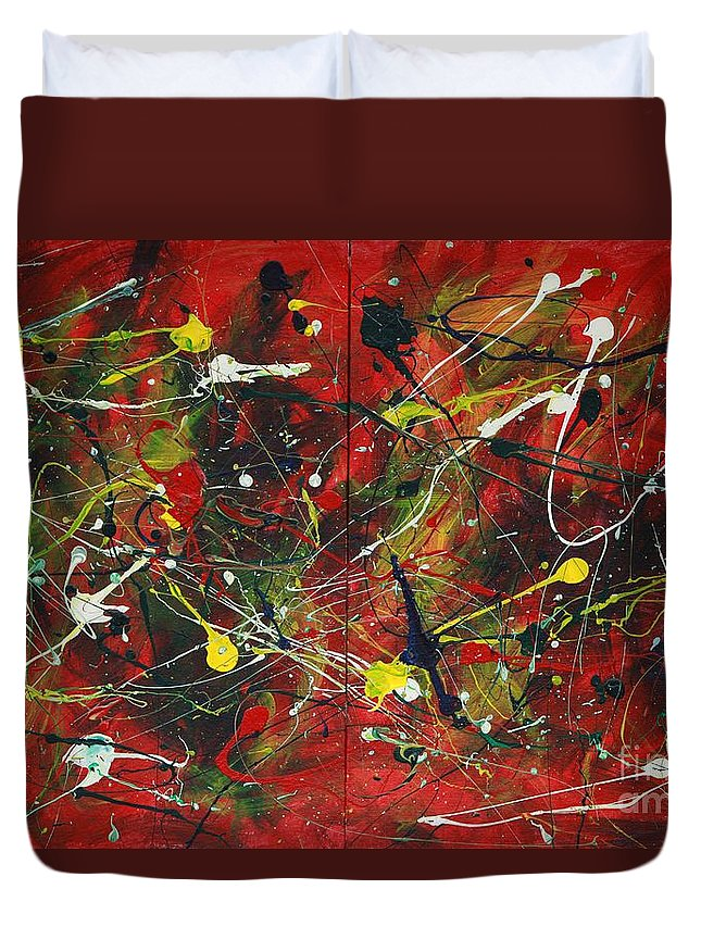 Splatter Duvet Cover featuring the painting On A High Note by Jacqueline Athmann