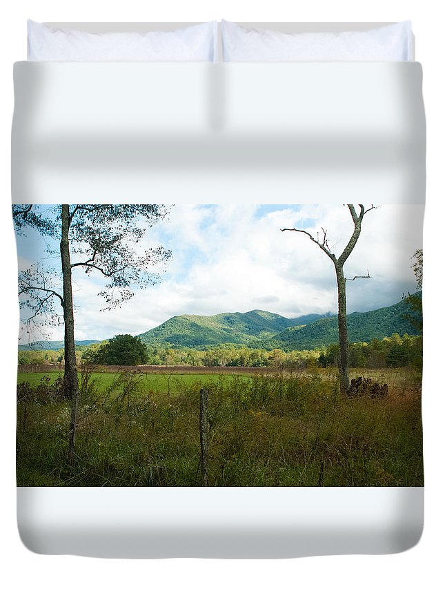 Leaves Turning Duvet Cover featuring the photograph On A Hill Far Away by Tim Atchley