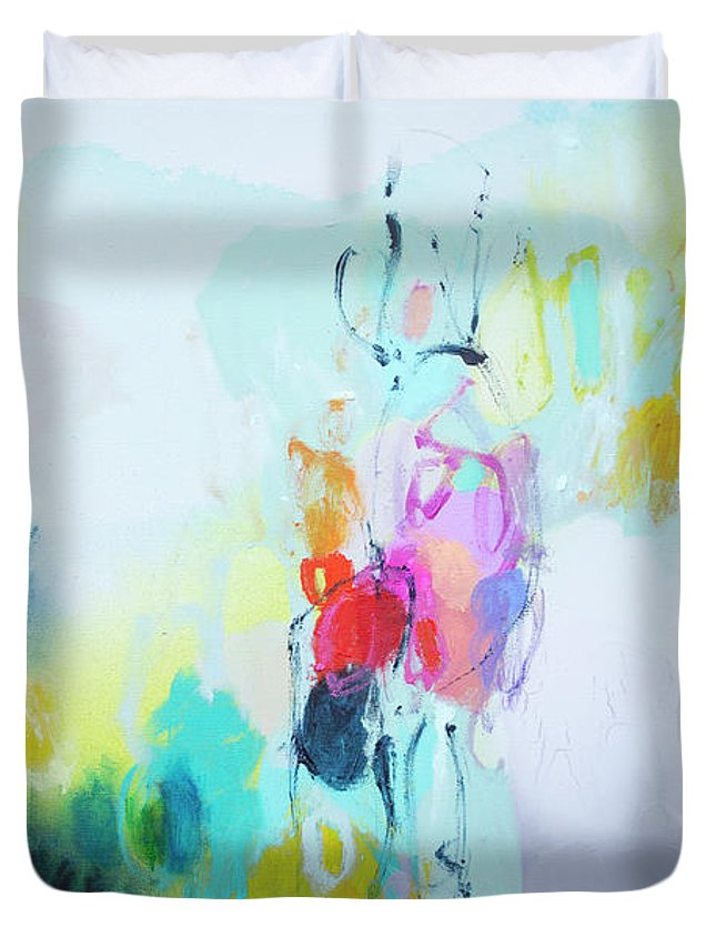 Abstract Duvet Cover featuring the painting On A Road Less Travelled by Claire Desjardins