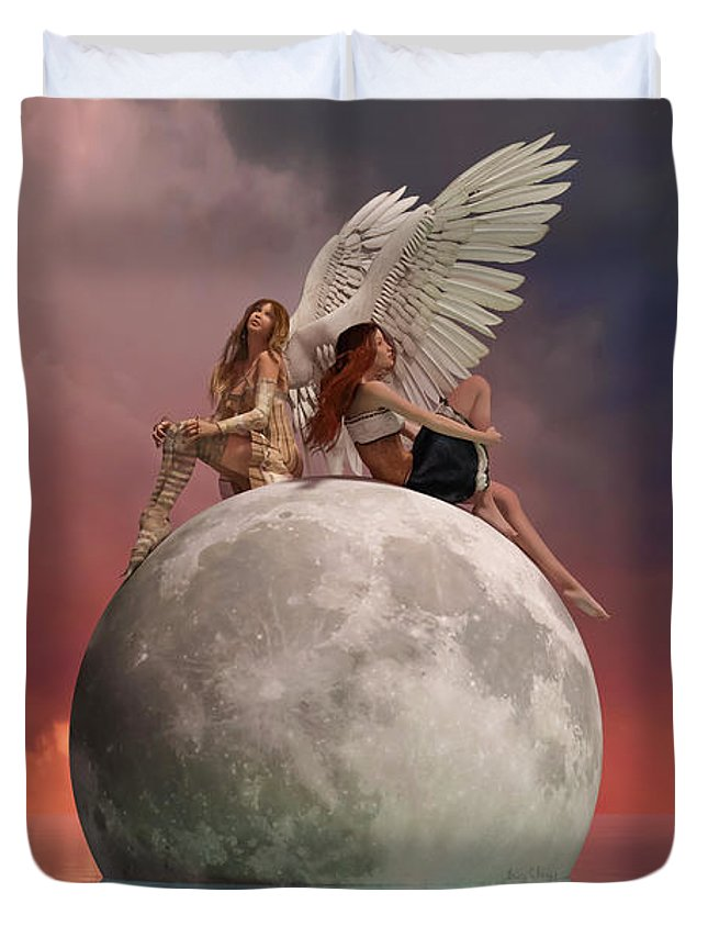 3d Duvet Cover featuring the digital art On A Wing And A Prayer by Betsy Knapp