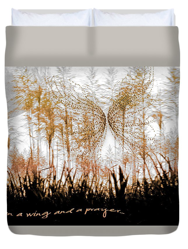 Landscapes Duvet Cover featuring the photograph On A Wing And A Prayer by Holly Kempe