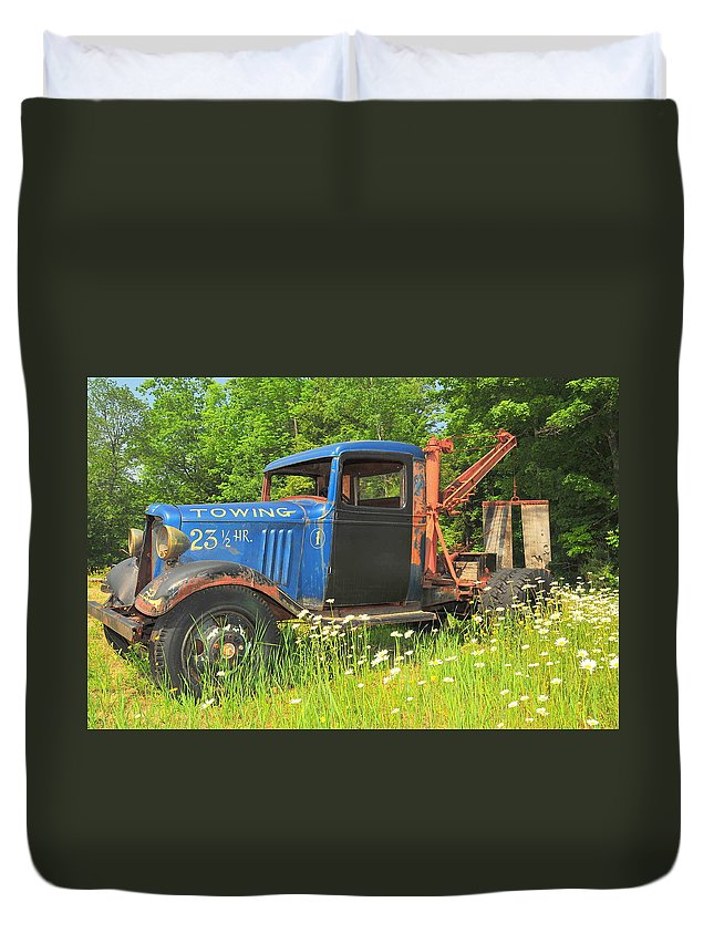 Tow Truck Sepia Old Abandoned New England Daisy Daisies Flowers Flower Broken Vehicle Vintage Floral Photo Phootgraph Photography Image Old Field Backroads Duvet Cover featuring the photograph On Break Too by Catherine Reusch Daley