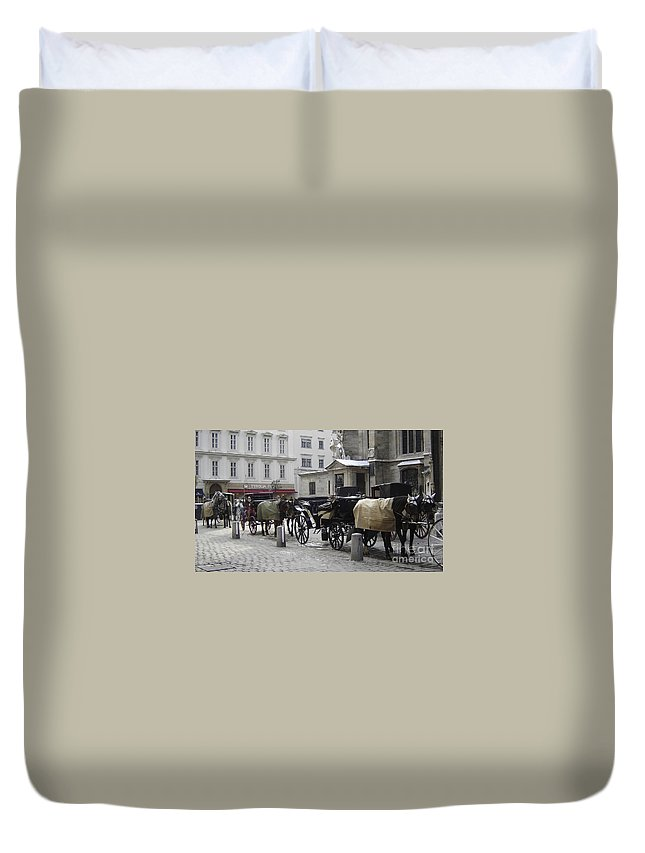 Horses Duvet Cover featuring the photograph On Call by Mary Rogers
