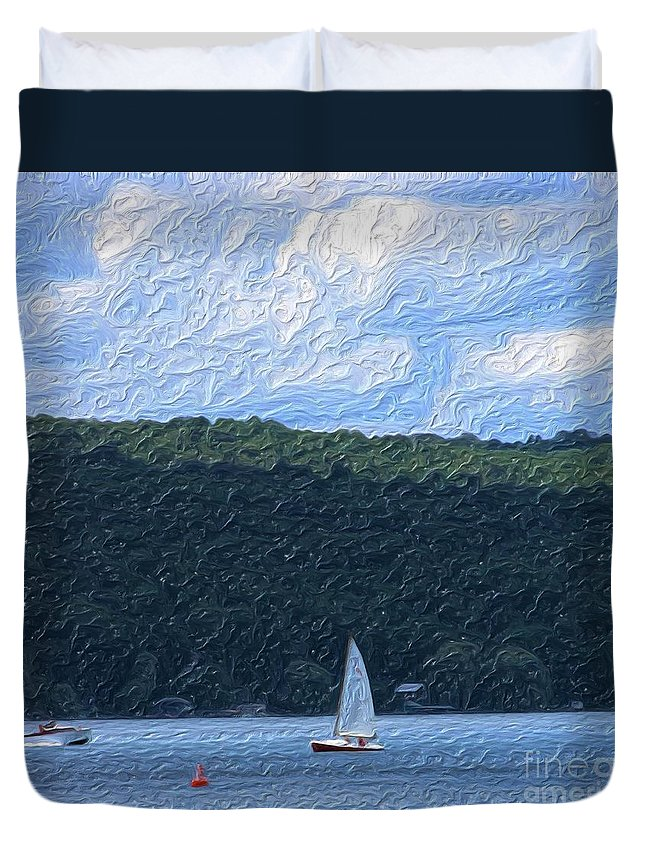 Landscape Duvet Cover featuring the photograph On Cayuga Lake by David Lane