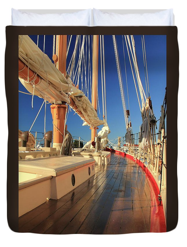 On Deck Duvet Cover featuring the photograph On Deck Of The Schooner Eastwind by Roupen Baker
