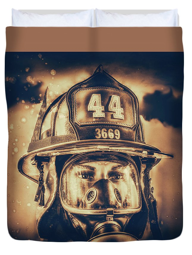 Fdny Duvet Cover featuring the photograph On Duty And Into Fire_dramatic by Hans Zimmer