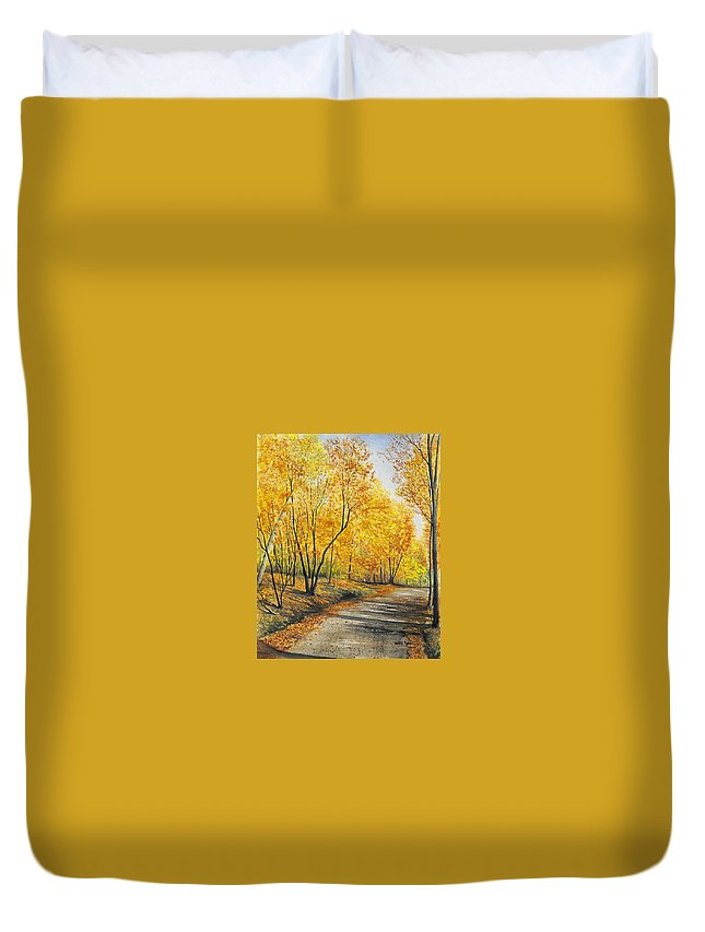 Autumn Duvet Cover featuring the painting On Golden Road by Mary Tuomi