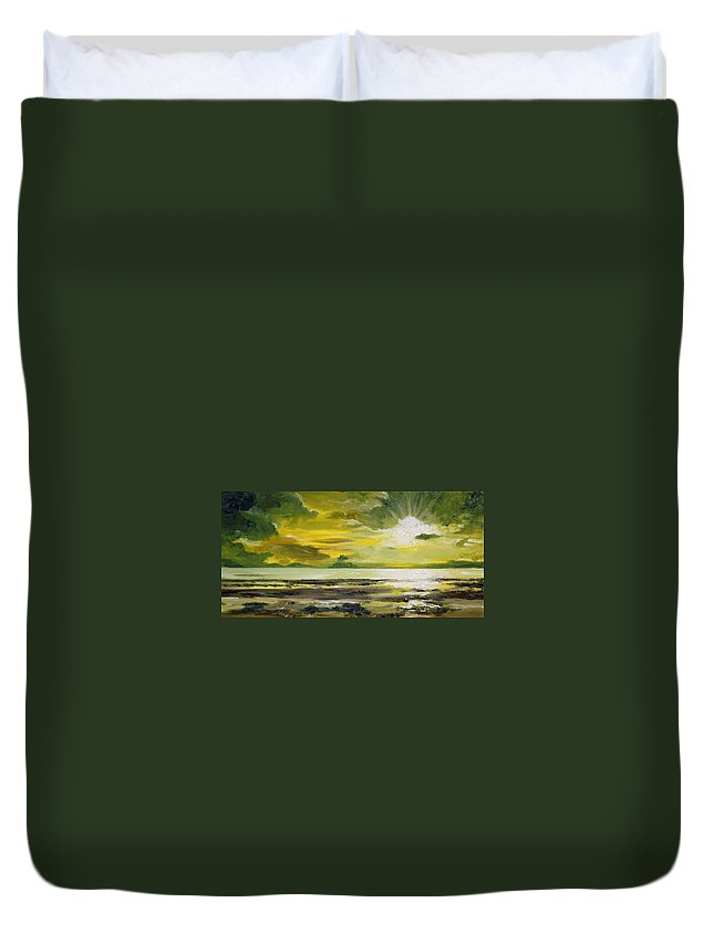 Sunset Duvet Cover featuring the painting On Golden Shores by Mary Tuomi