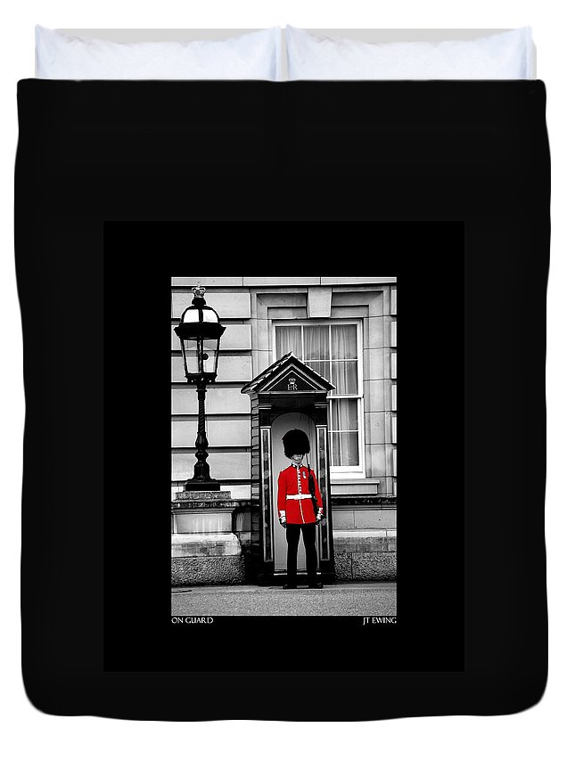 London Duvet Cover featuring the photograph On Guard by J Todd
