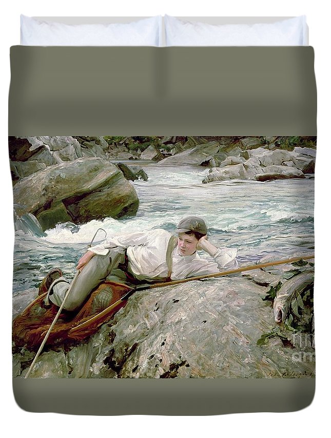 On His Holidays Duvet Cover featuring the painting On His Holidays by John Singer Sargent