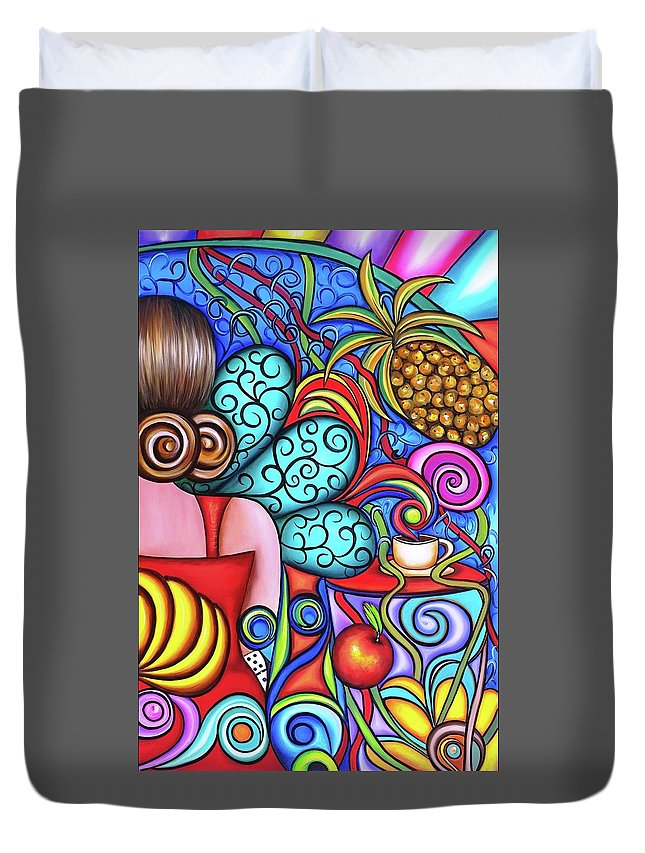 Cuba Duvet Cover featuring the painting On My Mind by Annie Maxwell