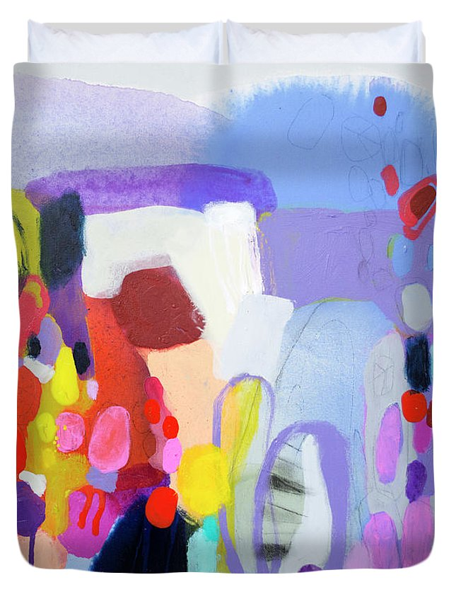 Abstract Duvet Cover featuring the painting On My Mind by Claire Desjardins