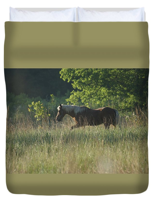 Horse Duvet Cover featuring the photograph On My Own by Heidi Poulin
