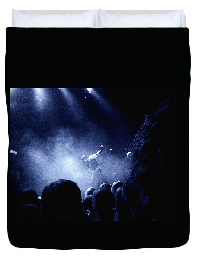 Rock Duvet Cover featuring the photograph On Stage by Are Lund