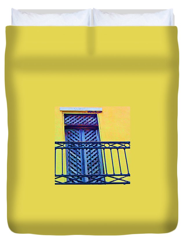 Balcony Duvet Cover featuring the photograph On The Balcony by Debbi Granruth