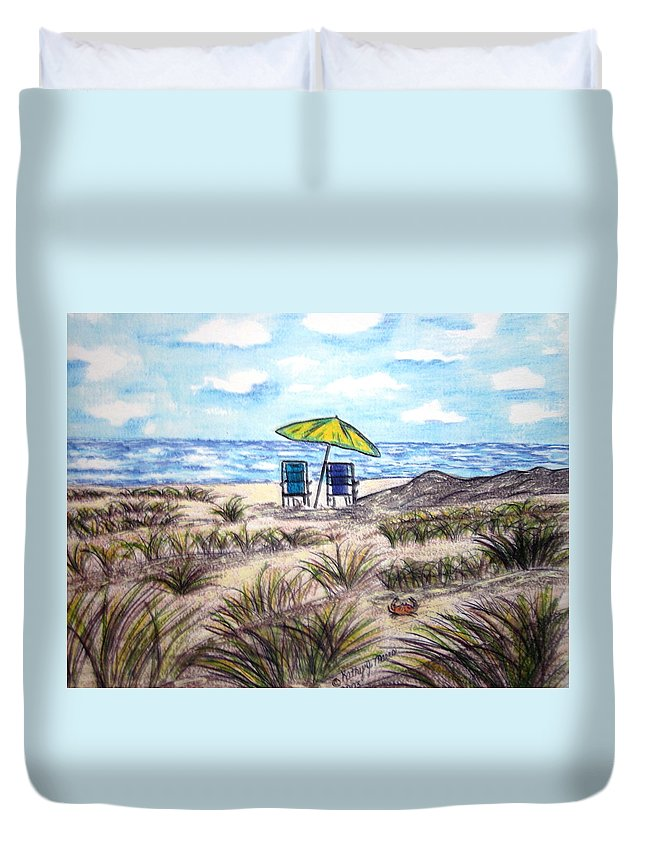 Beach Duvet Cover featuring the painting On The Beach by Kathy Marrs Chandler