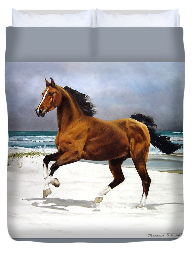 Horse Duvet Cover featuring the painting On The Beach by Marc Stewart