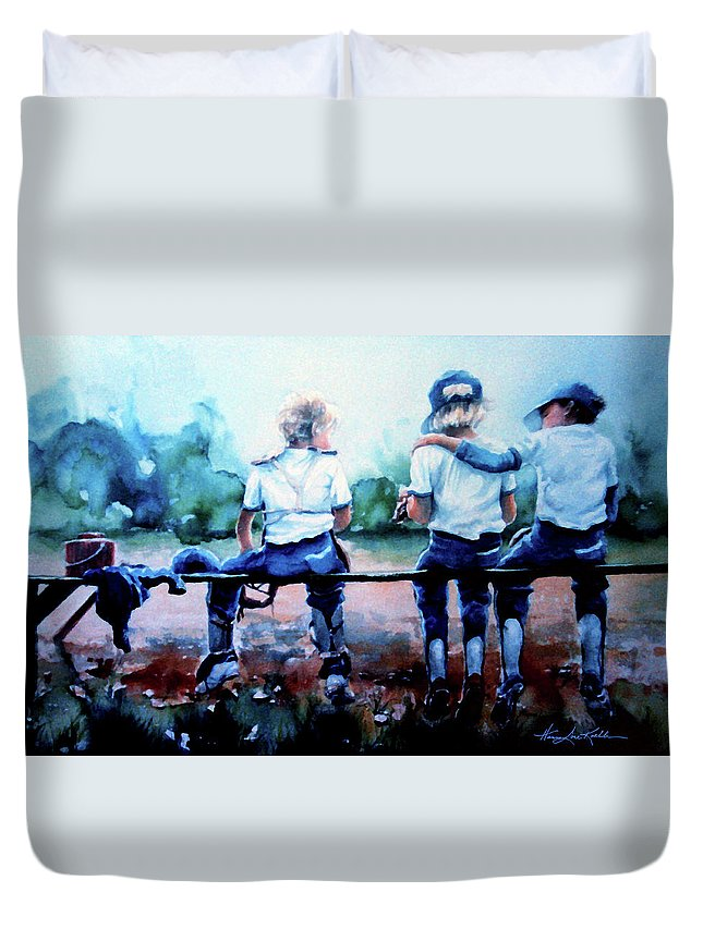 Boys Baseball Duvet Cover featuring the painting On The Bench by Hanne Lore Koehler