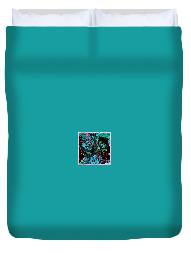 On The Blues Highway With Leadbelly And Muddy Waters Duvet Cover featuring the digital art On The Blues Highway With Leadbelly And Muddy Waters by Tony Adamo