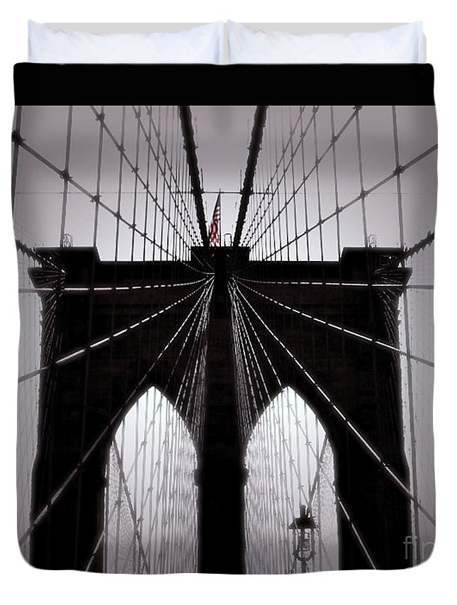 Brooklyn Bridge Duvet Cover featuring the photograph On The Bridge by Anne McDonald