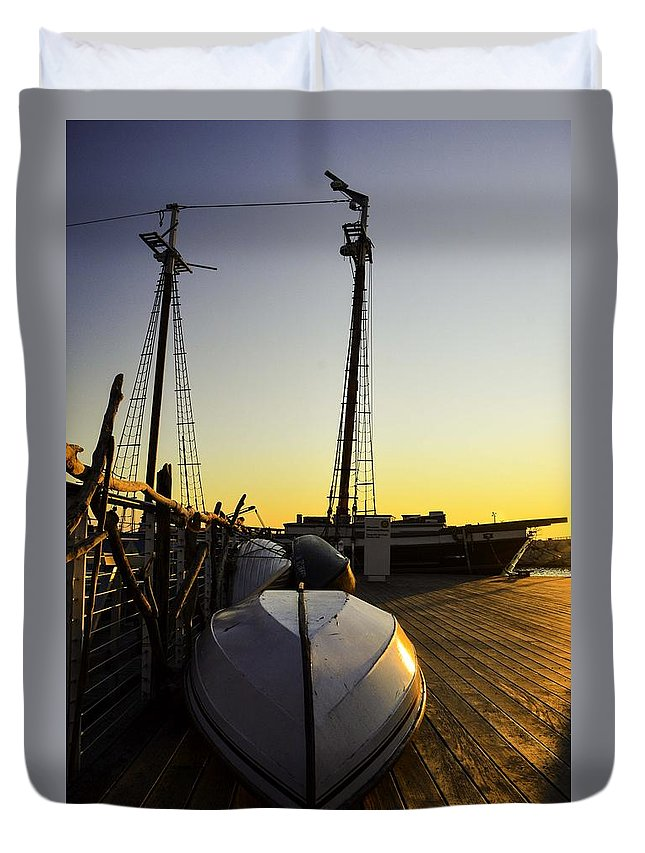 Schooner Duvet Cover featuring the photograph On The Dock Of The Sullivan by William Hoffmann
