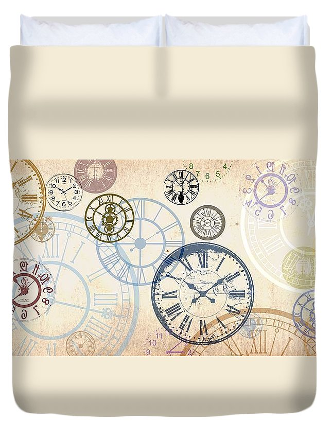Time Duvet Cover featuring the digital art On the dot by Francois Domain