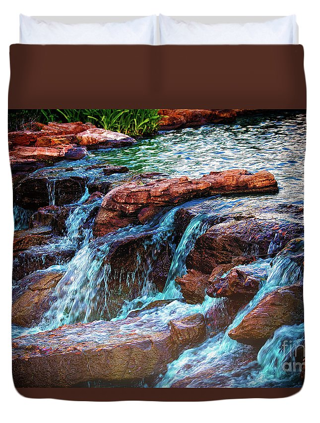 Waterfall Duvet Cover featuring the photograph On The Edge by JB Thomas