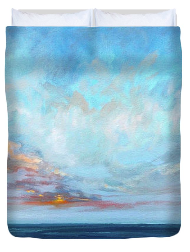 Lisa Ridabock Duvet Cover featuring the painting On The Edge by Lisa H Ridabock