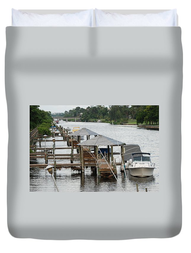 Boats Duvet Cover featuring the photograph On The Hillsboro Canal by Rob Hans