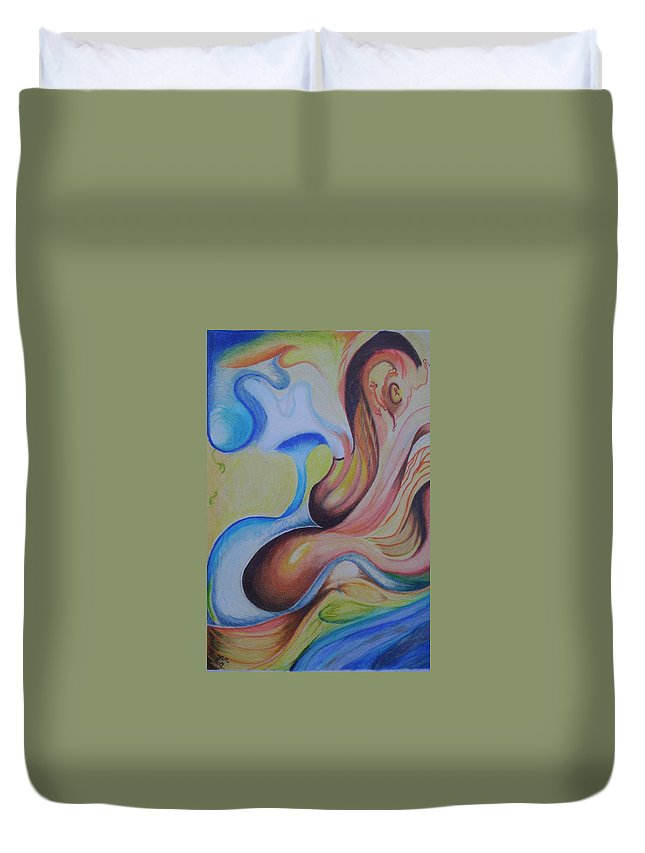 Abstract Duvet Cover featuring the painting On the Island by Suzanne Udell Levinger