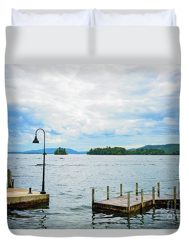Lake George Duvet Cover featuring the photograph On The Lake by Anna Serebryanik