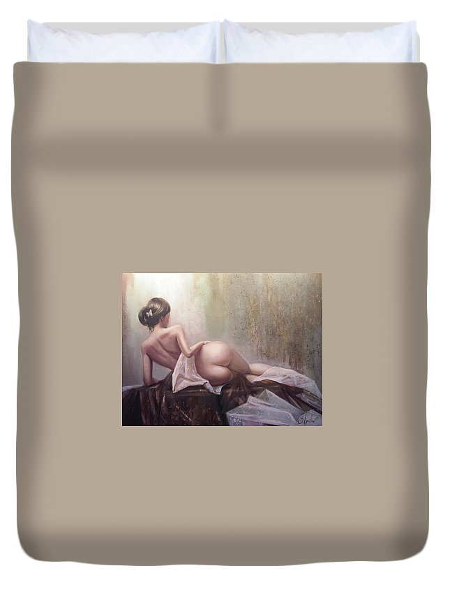 Art Duvet Cover featuring the painting On The Podium by Sergey Ignatenko