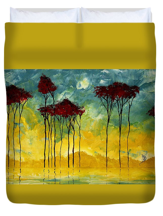 Art Duvet Cover featuring the painting On The Pond By Madart by Megan Duncanson
