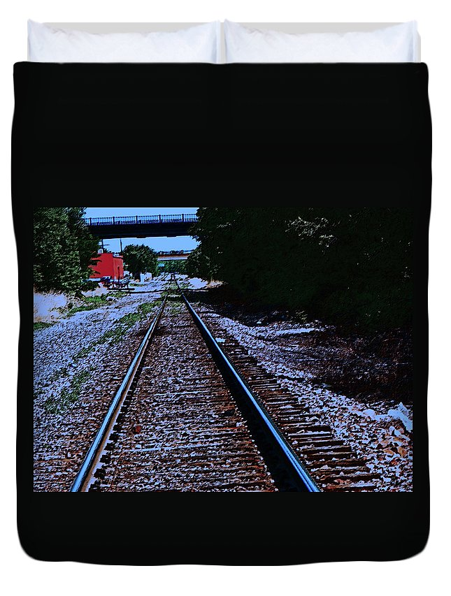 Abstract Duvet Cover featuring the photograph On The Railroad Tracks by Lenore Senior