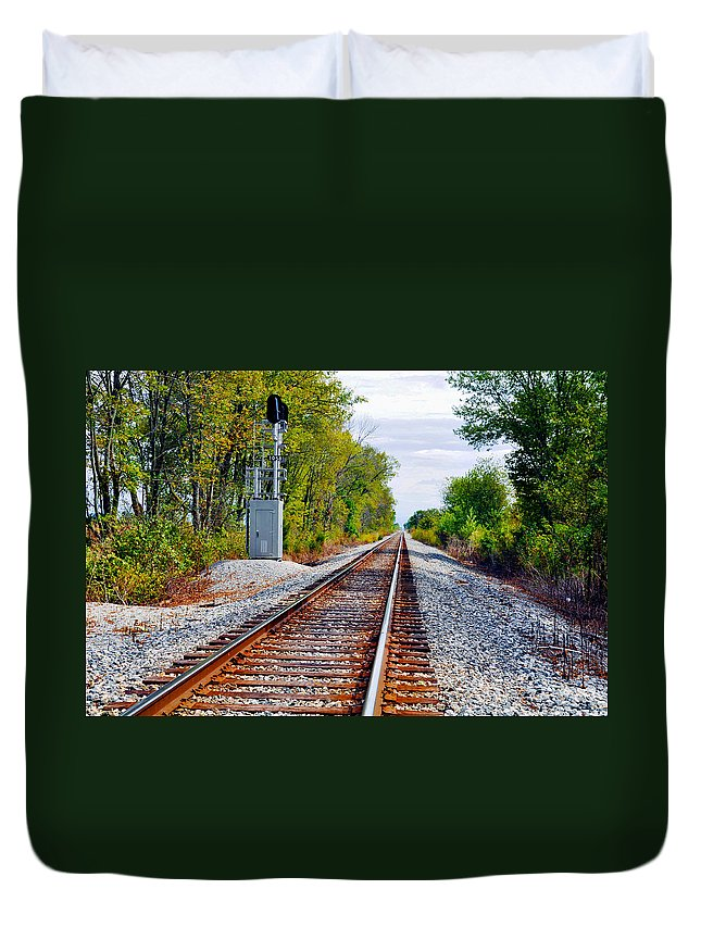 Train Track Duvet Cover featuring the photograph On The Right Track by Brittany Horton