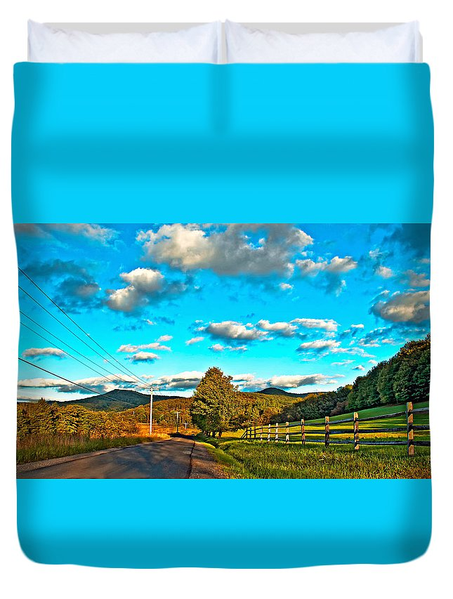 Landscape Duvet Cover featuring the photograph On The Road In Wv by Steve Harrington